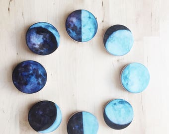 moon magnets, hand painted, Editors' Pick, lunar phases wood magnets, celestial watercolor, refrigerator magnets, mother's day gift