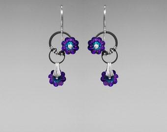 Heliotrope Swarovski Crystal Industrial Earrings, Statement Earrings, Swarovski Crystal Jewelry, Wire Wrapped, Cold Fusion II v11