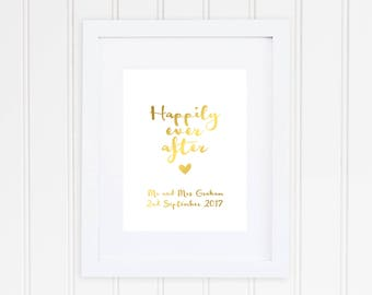 Happily Ever After Print, Real Foil Print, Wedding Decor, Anniversary Gift,
