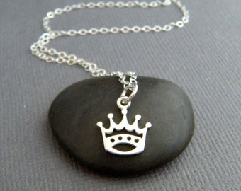 """tiny silver crown necklace. sterling silver. small princess king queen crown charm. petite necklace fun tiara pendant. gift for her 3/8"""""""