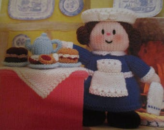 Handmade Knitted Miss Muffin's Tea Shoppe Part Of The Little Dumpling Dolls Village People (New, Made To Order) 3+