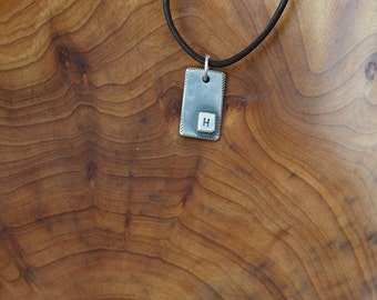 Sterling Silver Initial Tag Narrow (E0487)