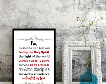 Bible Faith Affirmations Art Printable Wall Decor, Scripture Declarations,  Identity in Christ