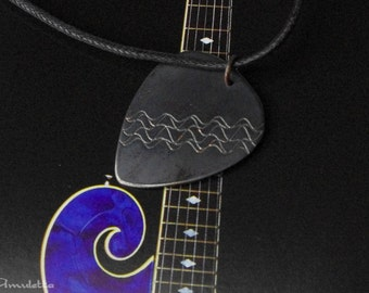 """Heartrate - Rustic custom guitar pick necklace -guitar gifts - large - """"Classy-Pick"""" brand - gift for boyfriend, son, dad"""