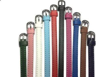 Genuine Leather Slide Charm Wristbands, Flat Leather Slide Charm Bracelets, Pokémon Go Strap, 8mm Strap Fit 8mm Slide Charm - Adjustable