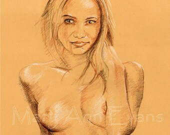 Mary Ann Evans Erotic Female Nude Study (MAECP48) MATURE. Print from original conté drawing