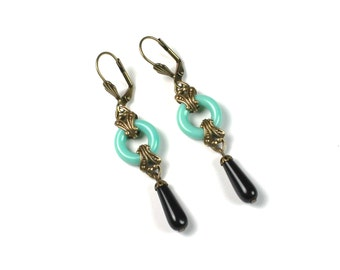 Art Deco Earrings w/ Turquoise Czech Glass
