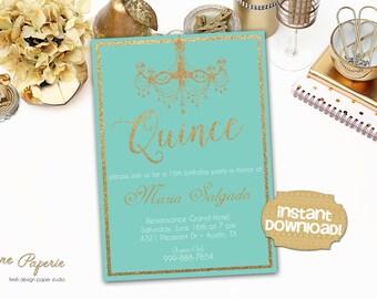 INSTANT DOWNLOAD - Quinceanera Invitation - Quinceaños Invite - Sweet 15 - Mis Quince -  Invitaciones de 15 años - Quince Años Invitation