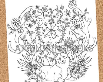 Whimsical Corgis - Animal Coloring Pages, Forest coloring page, Adult coloring page, Digital Download, PDF Coloring Pages, Corgis, dogs