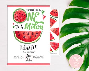 One in a Melon Birthday Invitation- Printable OR Printed- Lovely Little Party