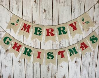 Merry Christmas Burlap Banner, White Burlap Christmas Banner, Christmas Decor, Christmas Garland, Christmas Banner