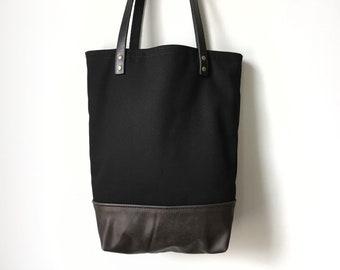 Leather Tote Bag - Repurposed Dark Brown Leather and Black Canvas Tote Bag