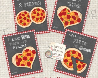Pizza Valentines Cards for Kids *Funny Valentines *Teen Valentines Day *DIY Printable Valentine for classmates, personalization extra