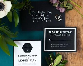 Black and White Modern Wedding Invitation