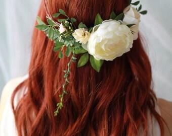 Woodland circlet, bridal flower crown, ivory wedding hair wreath, floral headpiece, leafy crown, boho hair accessories