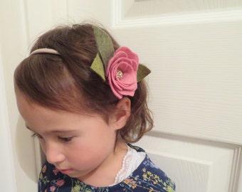 Tsubaki(camellia)headband/clip-Baby/Child/Adult Felt Flower Crown-Flower Crown-Floral Crown-Festival Wear-Pink camellia-Ivory camellia-Boho