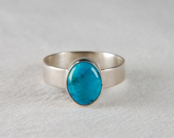 Turquoise Ring Artisan Ring Southwestern Jewelry Wide Band Ring Turquoise Jewelry