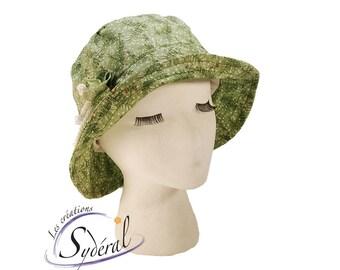 Ladies summer hat, green with flowers hat, coton hat, beach hat, travel hat, sun hat, women summer hat, sun protection