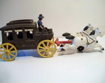 Cast Iron Wagon Train Frontier Stage Coach Antique Toy Home Office Decor Rustic Primitive Farmhouse