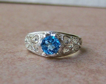 6mm Genuine Electric Swiss Blue Topaz Filigree Ring Sterling Silver, Cavalier Creations