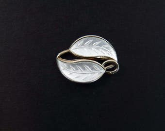DAVID ANDERSEN - Willy Winnaess 1950's Silver & Enamel Leaf - Single Piece