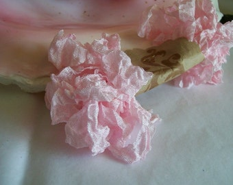 Vintage- Seam Binding- Crinkled-Orchid Pink-Silky-Shabby