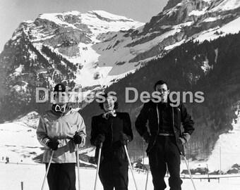 Vintage Photo Skiiers at Mountain Base
