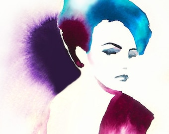 Glamorous Fashion Art Print Painting Glamour Salon Decor Spa Beauty Hair Show Purple Hair Salon Art Teal