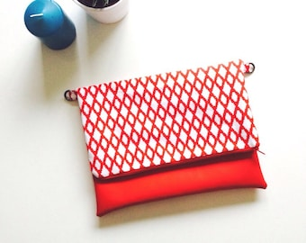 Red and White Leather flap pocket