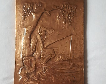 Copper Wall Hanging. Embossed Copper, Oriental Wall Hanging, Fisherman,  Copper, Relief Wall Decor, Vintage Copper, Copper Art,