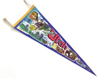 Utah Souvenir Pennant, Vintage Printed Felt Flag