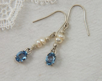 Sparkly Blue Earrings Aquamarine Earrings Simple Silver Earrings Handmade Silver Earrings Faceted Earrings Gifts