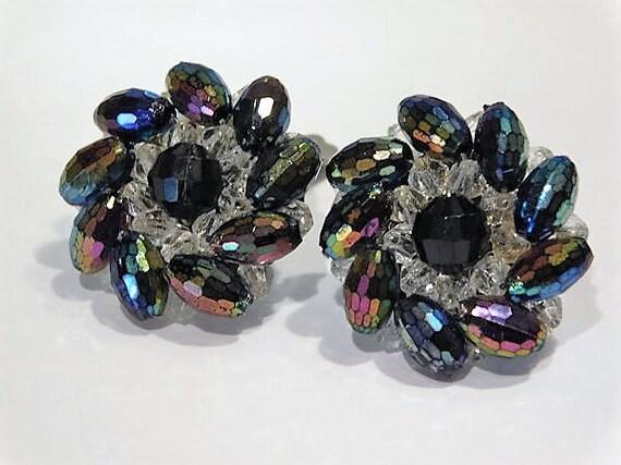 Rhinestone Earrings / Clip On Earrings / Mid Century