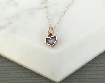 Sterling Silver Pixel Heart Pendant, Legend of Zelda inspired Necklace, Nintendo Charm Pendant, Sterling Silver Chain and Silver Pendant