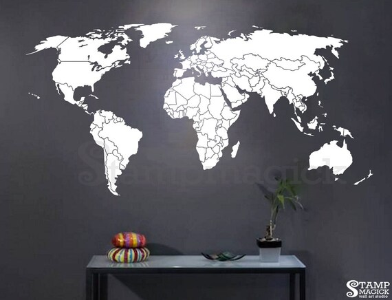World map wall decal countries world map wall art sticker world map wall decal countries world map wall art sticker vinyl chalkboard chalk black board dry erase white borders boundaries k295b gumiabroncs Gallery