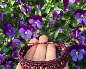 Micro Macrame Bracelet Burgundy