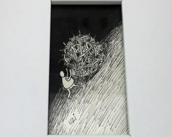 Man on the hill with straw UZI wide white Wood Framed illustration, drawing Original Pen and Ink Illustration on 300 gram weight paper