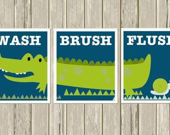 Alligator Boys Art, Kids Bathroom Decor, Boys Bathroom Wall Art, Alligator  Bathroom,