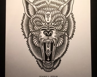 Sketchy wolf face
