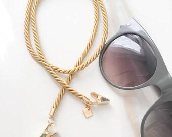 Thin Gold Twisted Cord Sunglasses & Eyeglasses Retainer - Eyewear Jewelry