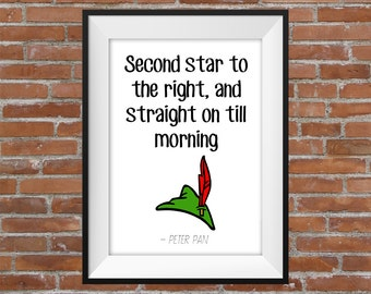 Second Star To The Right, And Straight On Till Morning - Peter Pan Quote (White BG) -  Printable Wall Art - Typography Digital Print