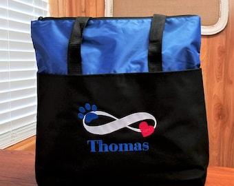 Personalized Pet Tote Bag Travel Tote Bag Dog Cat Infinity Love