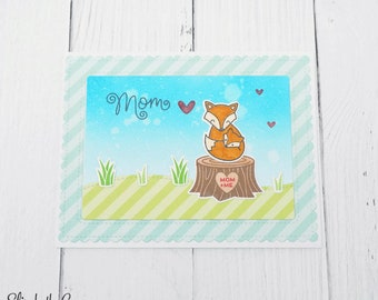 Mothers Day Card, Birthday Card, Card For Mom, Happy Mothers Day, Fox, Handmade Greeting Cards, Lawn Fawn Card