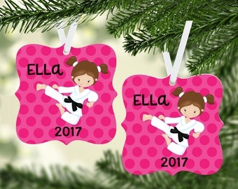 Taekwondo / Karate / Martial Arts / Personalized Christmas Ornament / Round Christmas Ornament / Double sided / Christmas Ornament