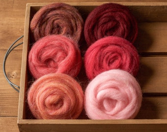 Wool Roving for Needle Felting, Assortment, Fiber Sampler, Samples, Pink, Red, Rose Bouquet, Wet Felting, Spinning, Weaving, DIY, Crafts