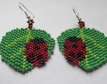 Leaf Ladybug Beaded Earrings