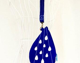 Rain Drops Purse, Raindrops Wristlet, Wrist Clutch, Zip Purse, Water Droplets Wristlet, Tear Drop Wrist Pouch, Royal Blue And White Color