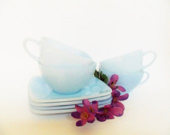 Fire King Set of 4 Cups and 4 Saucers  Azurite Charm , Fire King Light Blue Glass Cups Saucers