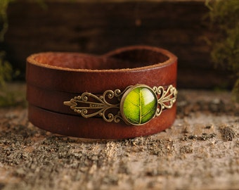 Green leaf bracelet, gift for women, birthday gift for her, brown leather bracelet, green bracelet, anniversary gift, statement jewelry