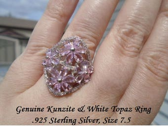 Kunzite Or Tanzanite & White Topaz Ring Size 7.5